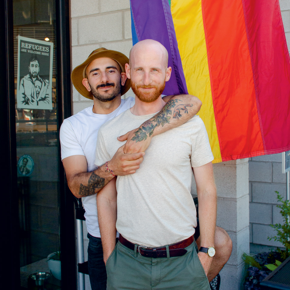 Moudi Sbeity (left) and Derek Kitchen (right) in front of their restaurant, Laziz Kitchen, in Salt Lake City.