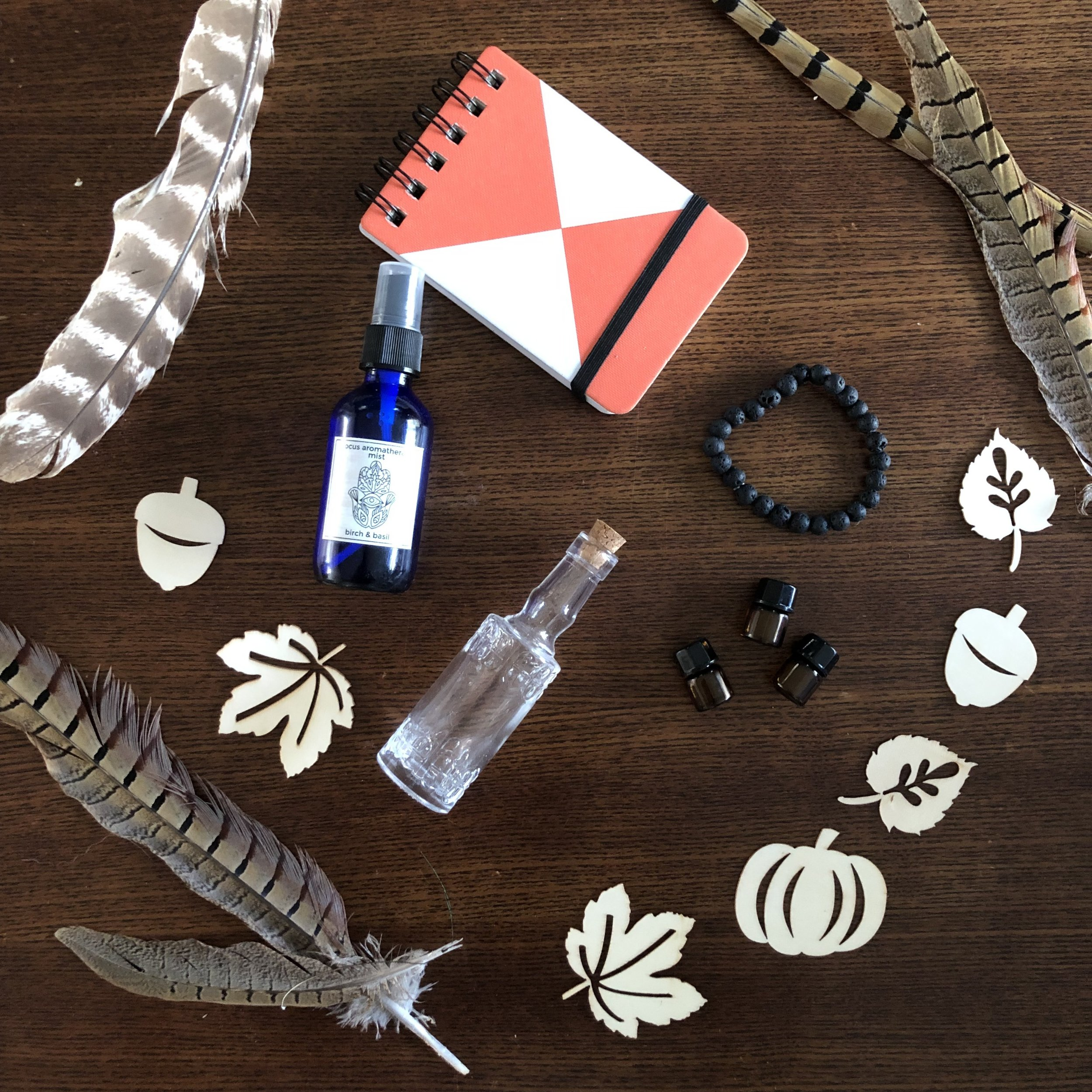 for your mind… - *journal*focus aromatherapy mist*glass bottle*lava beads*DoTerra essential oil samples