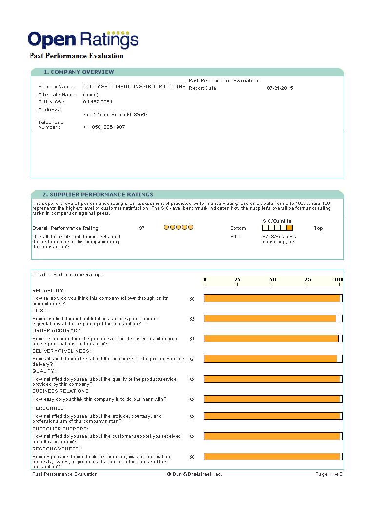 Dun&Bradstreet Performance Evaluation Report