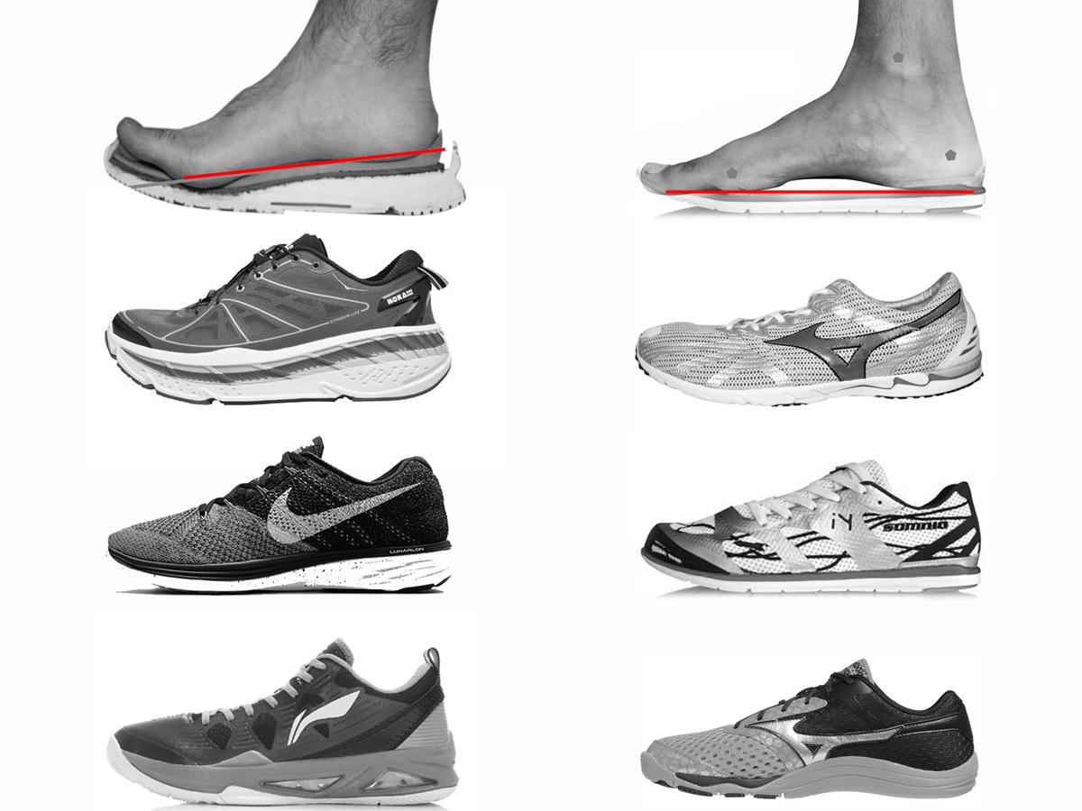 En las imágenes represento como afectan los calzados la anatomía del pie. A la izquierda, zapatillas con mucha amortiguación y a la derecha con ZERO DROP.