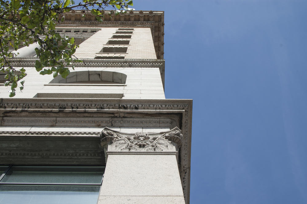 Granite Building: Volutes on capitals restored with epoxy