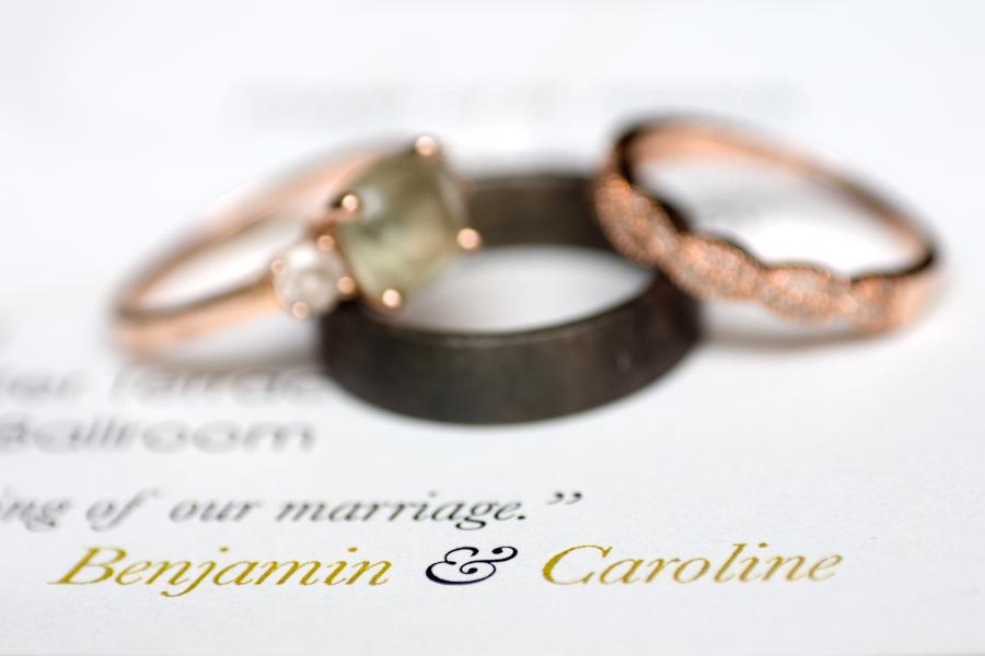 Heirloom Engagement and Wedding Bands on Wedding Program - San Antonio Wedding Photographer
