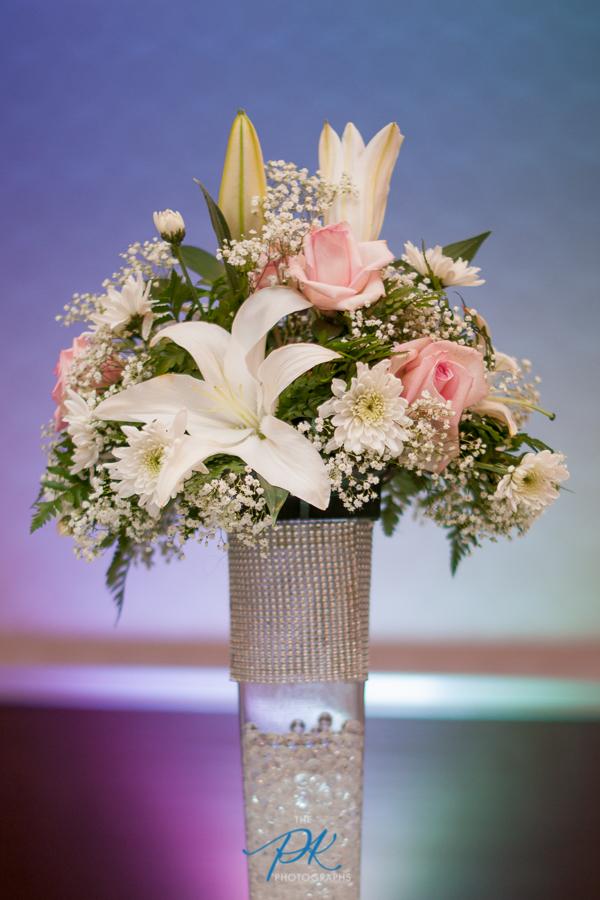Reception Uplighting and Centerpiece - San Antonio Wedding Photographer