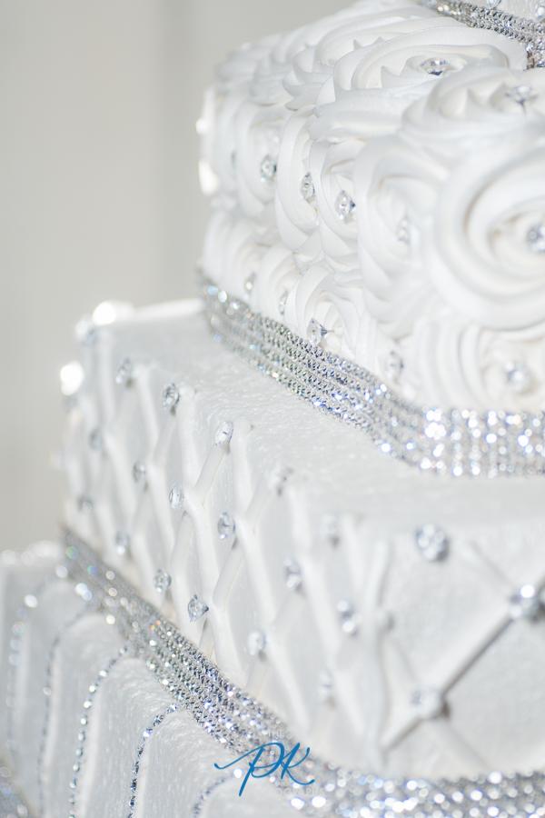 Detailed White Wedding Cake - San Antonio Wedding Photographer