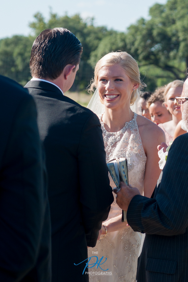 Rachel was all smiles during their wedding ceremony, and she couldn't keep her eyes off of Nelson.