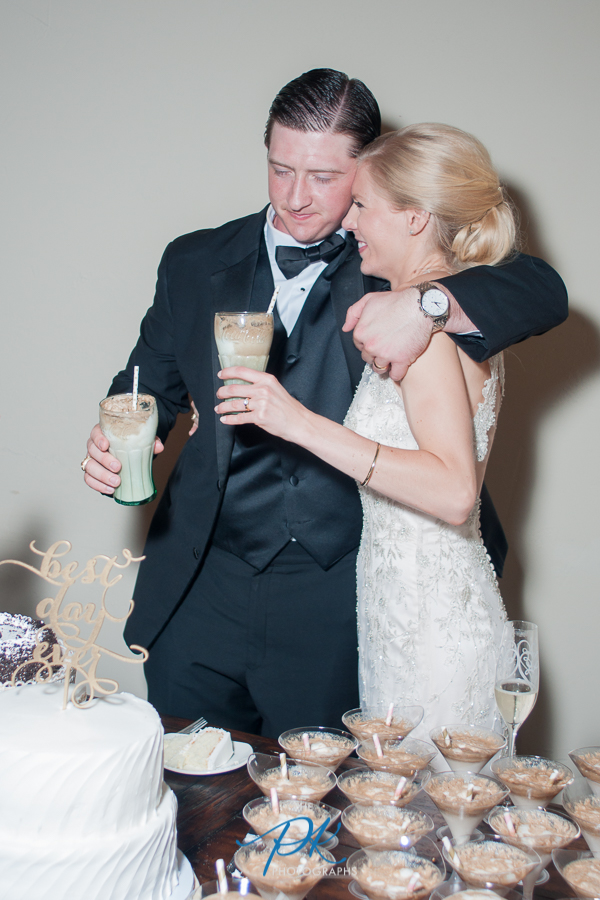 Rachel and Nelson enjoying their Coke floats at their wedding.