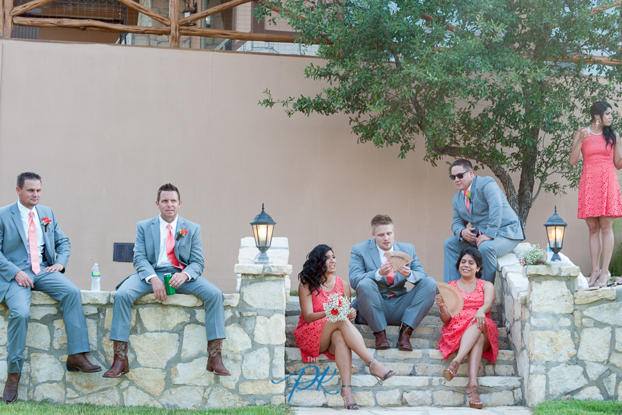 The bridal party relaxing as we did the formal family portraits with the Bride and Groom.