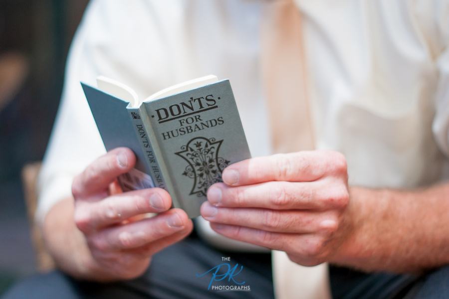 """Denise also gave Brian this book, """"Don'ts for Husbands"""", which he cracked open."""