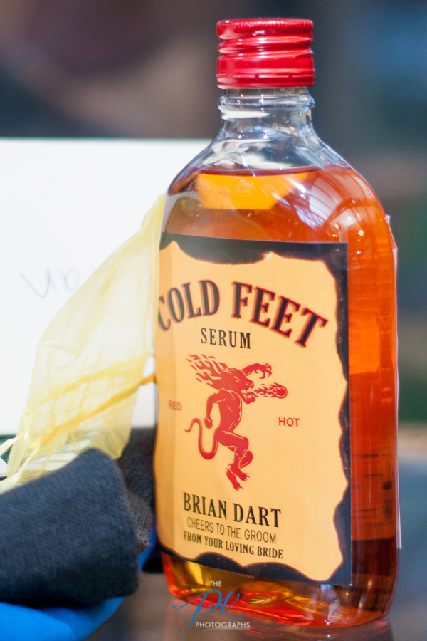 Denise's gifts to her future husband before the ceremony were hilarious, including this personalized bottle of Fireball and a pair of socks in case he had cold feet.