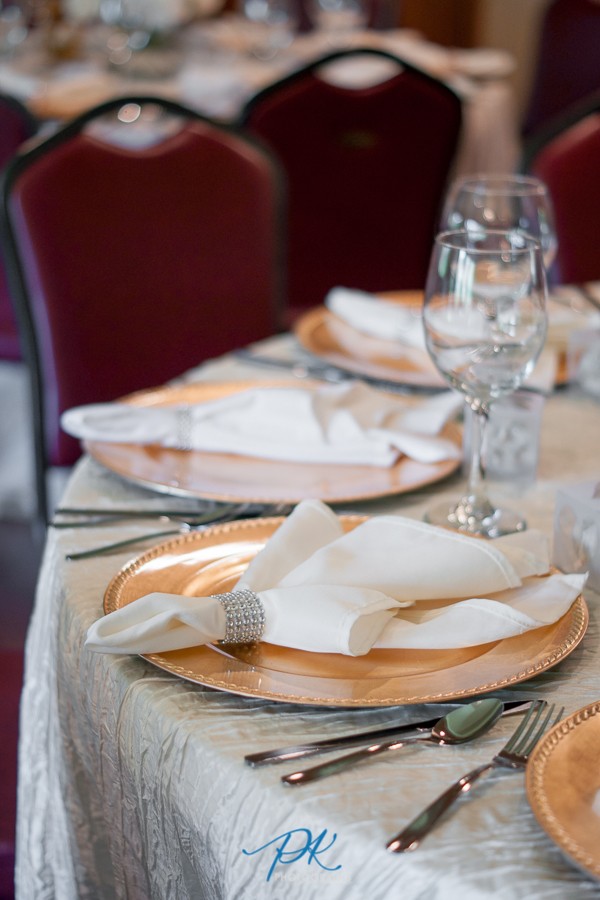 The wedding reception tables were ready for guests.