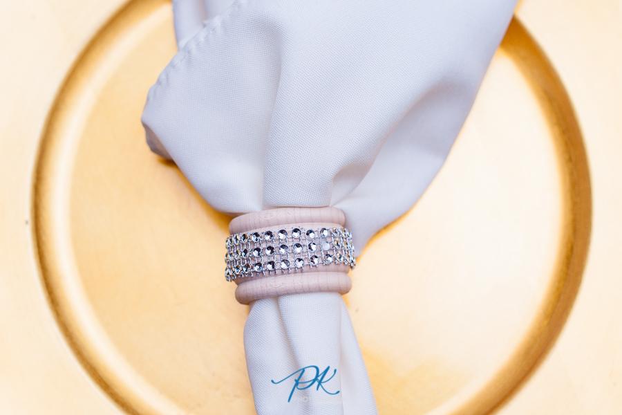 Napkins were set up beautifully with handmade napkin rings.