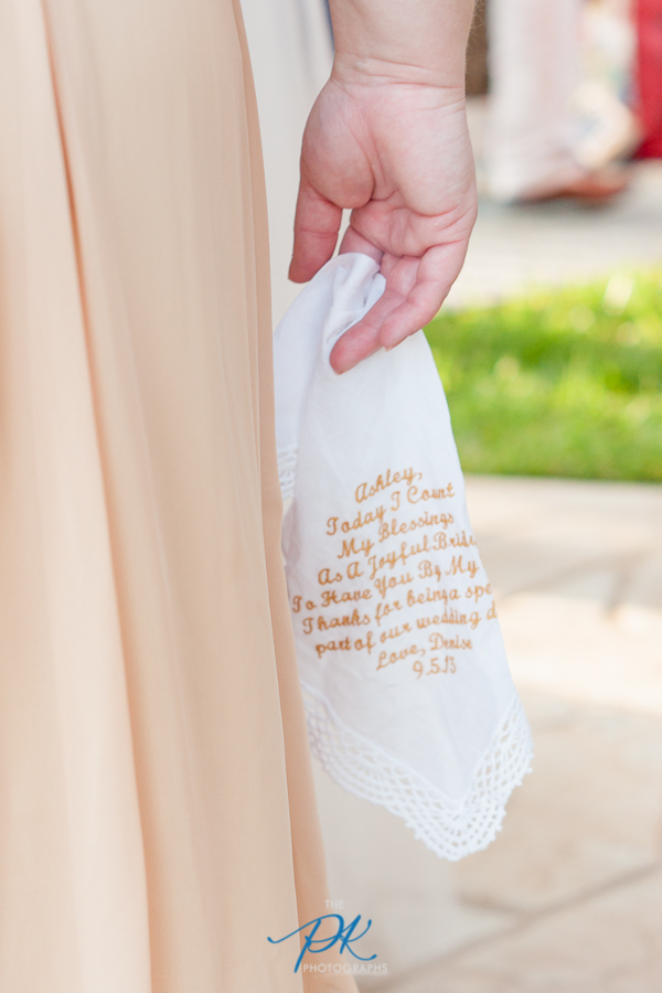 Denise gave personalized handkerchiefs to her mother and sister.