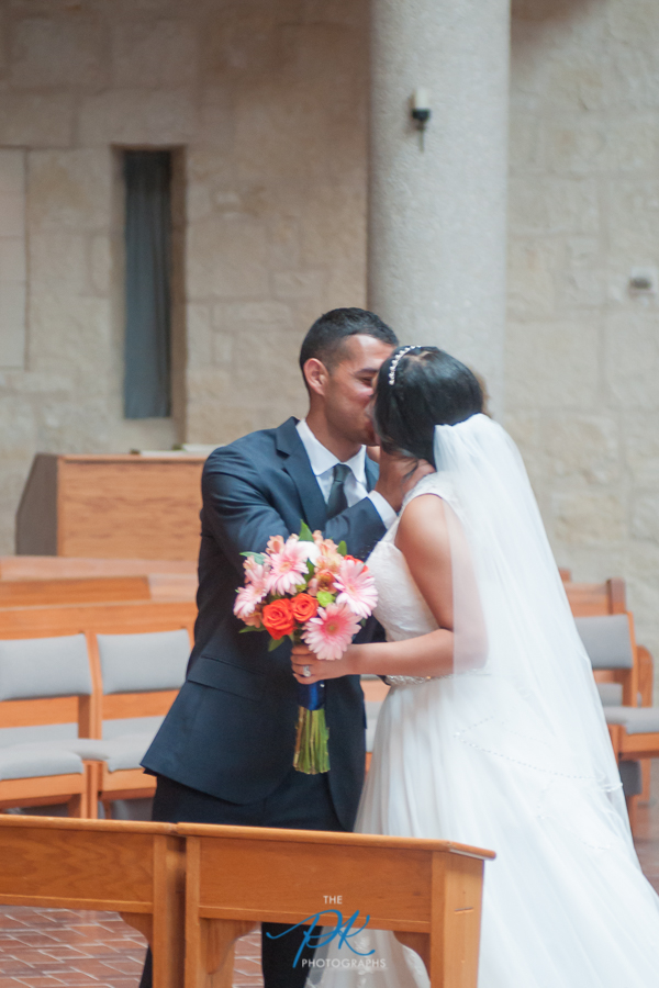 Bride and Groom at St. Peter the Apostle Catholic Church - San Antonio Wedding Photographer