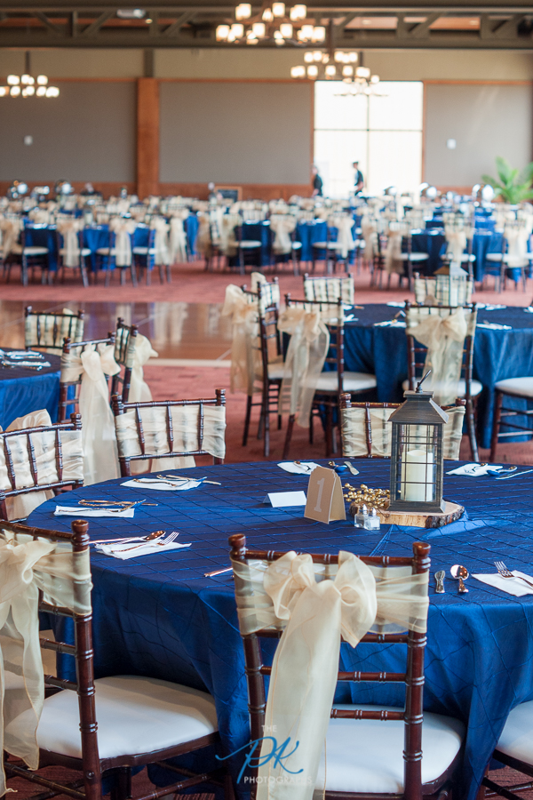 Gold and Navy Decorated Cana Ballroom - San Antonio Wedding Photographer