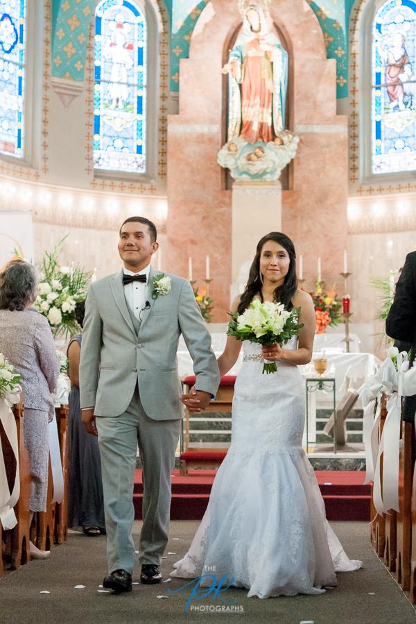 Bride and Groom Walking Up Aisle -  San Antonio Wedding Photography