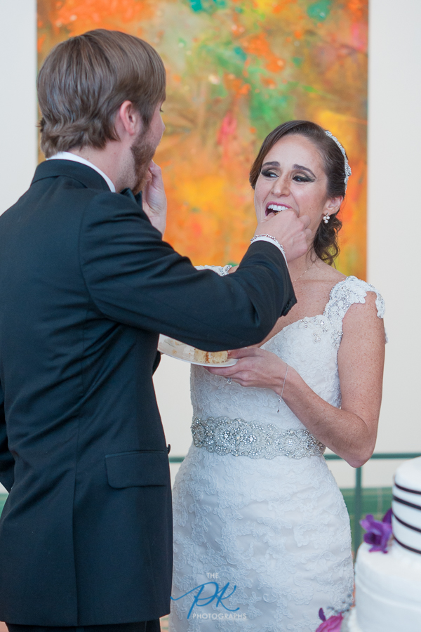 Cake Cutting During Wedding Reception at the McNay Art Museum - San Antonio Wedding Photographer