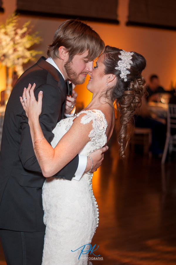 Bride and Groom Dancing at Wedding Reception at the McNay Art Museum - San Antonio Wedding Photographe