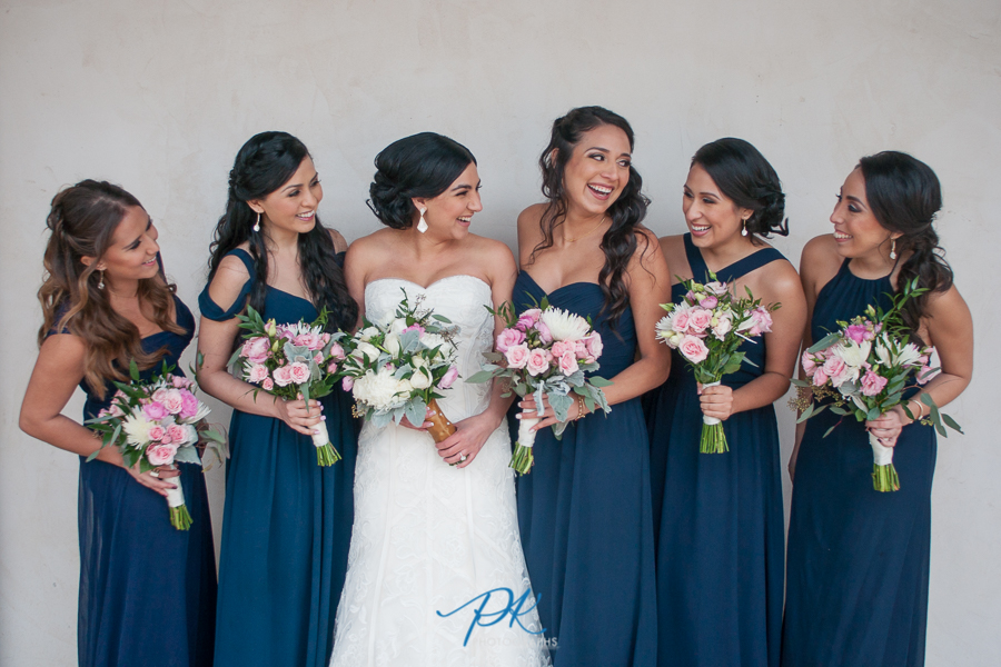Bride and Bridesmaids in navy with pink flowers - San Antonio Wedding Photographer