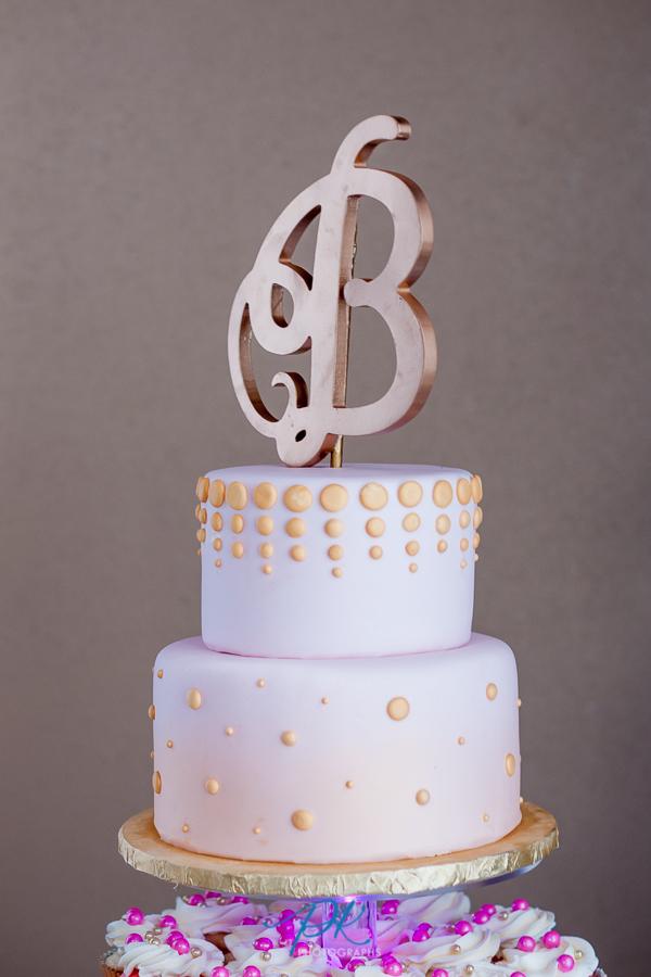 Gold and Pink Wedding Cake - San Antonio Wedding Photographer