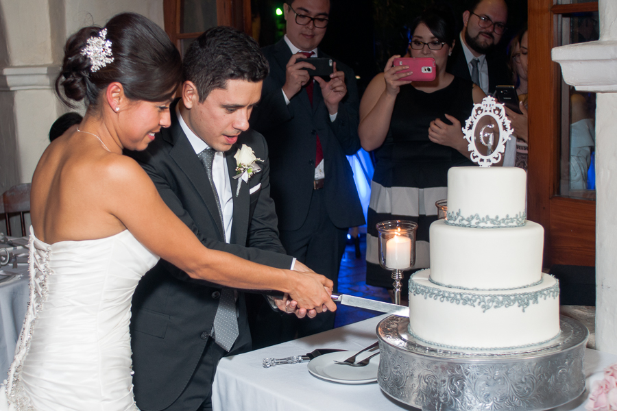 Cake Cutting at La Fonda on Main - San Antonio Wedding Photographer