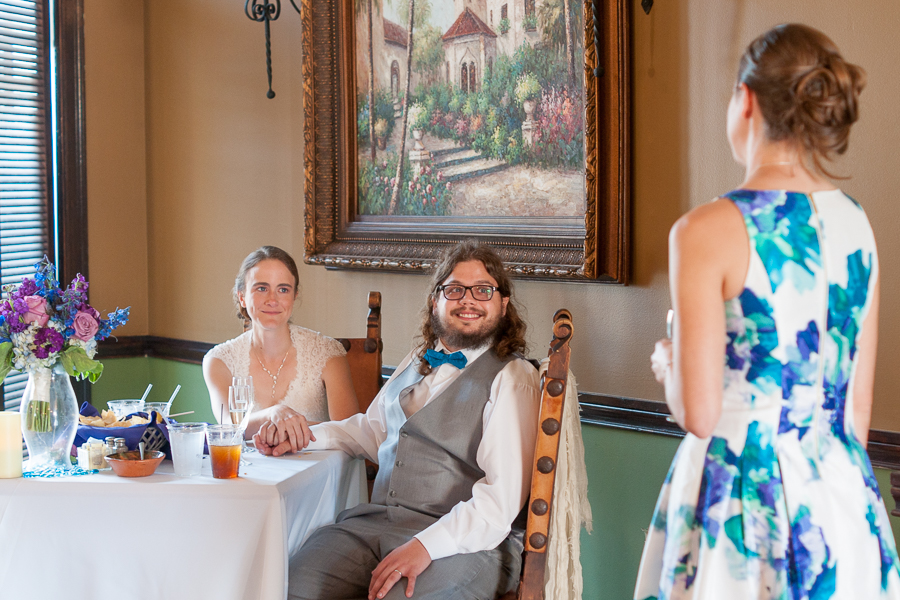 Toasts During Wedding Reception at Rita's on the River | San Antonio Wedding Photography