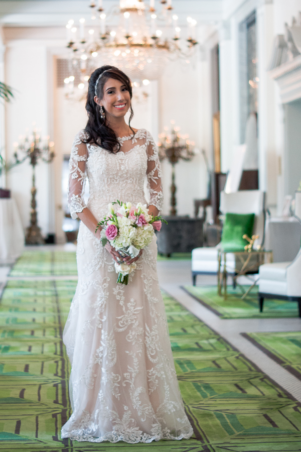 Bride in Peacock Alley at St. Anthony Hotel | San Antonio Wedding Photography