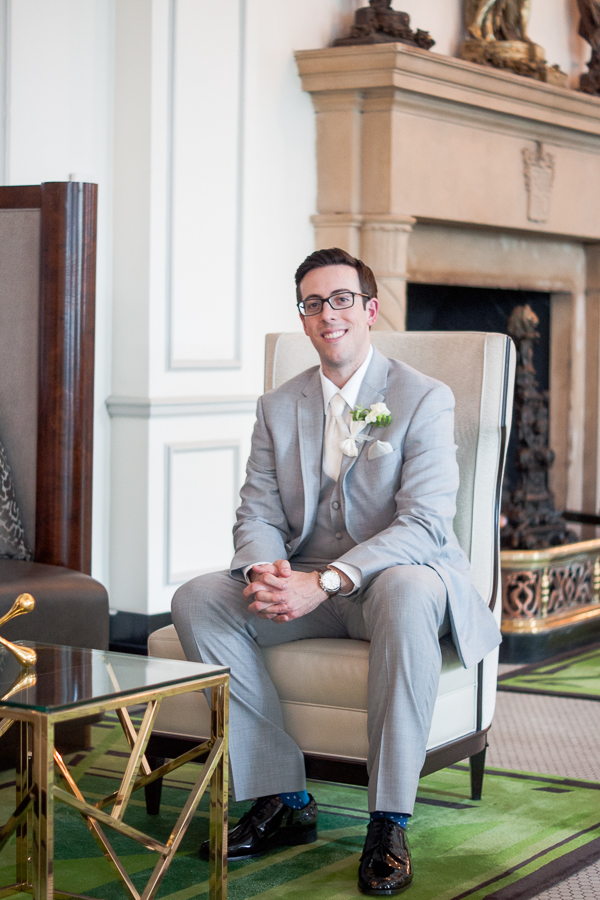 Groom in Peacock Alley at St. Anthony Hotel | San Antonio Wedding Photography