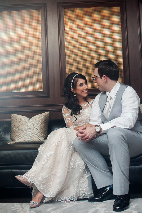 Bride and Groom in Peacock Alley at St. Anthony Hotel | San Antonio Wedding Photography