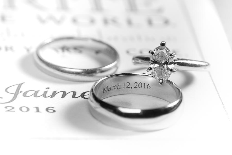 Engraved Wedding Ring Set | San Antonio Wedding Photographer