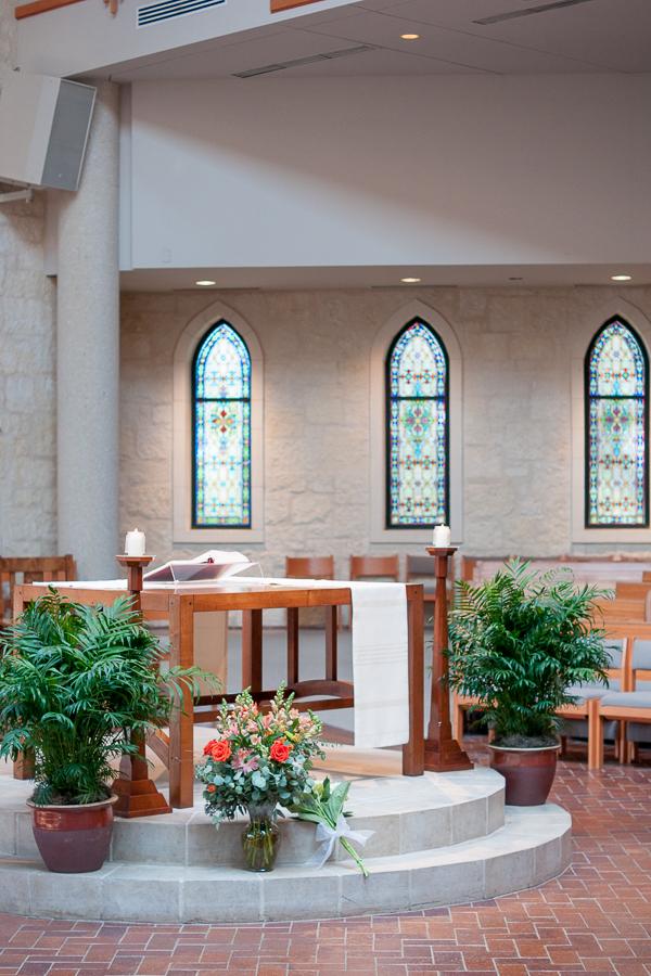 Decorated Ceremony area at Saint Peter's Catholic Church