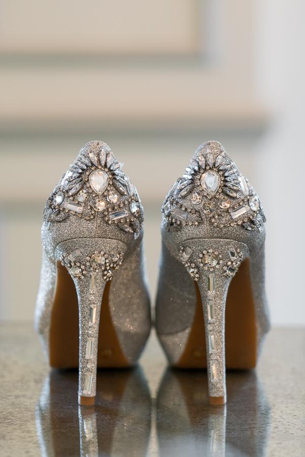 Silver Ornate Bridal Heels  | San Antonio Wedding Photographer