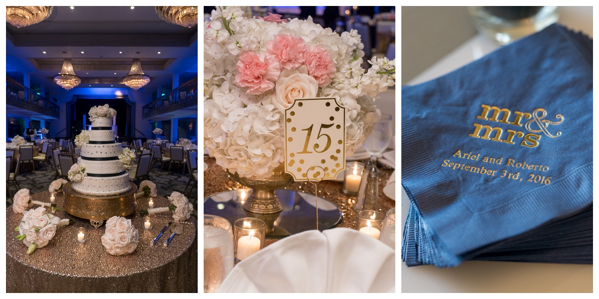 Gold and Navy St. Anthony Hotel Wedding Reception | San Antonio Wedding Photographer