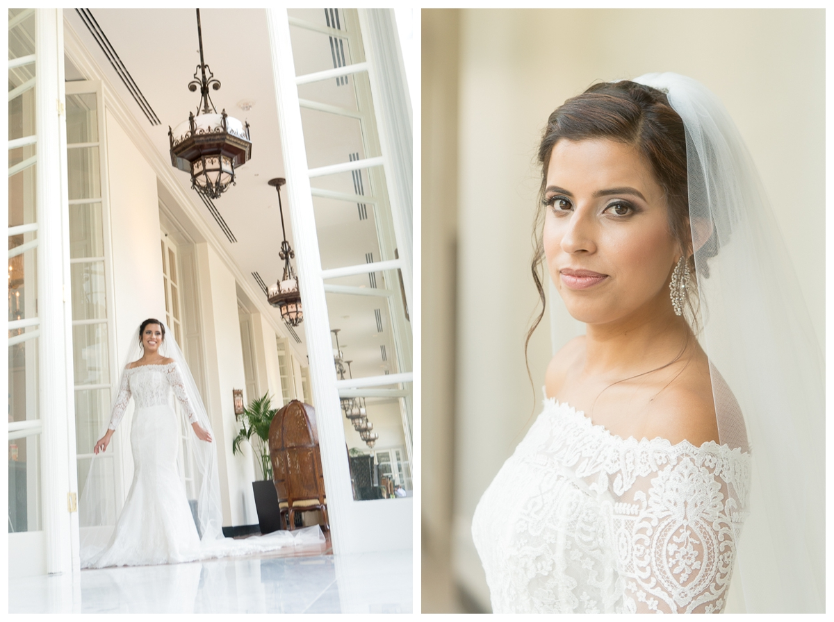 Off -the-Shoulder Lace Wedding Dress at the St. Anthony Hotel Wedding Reception | San Antonio Wedding Photographer