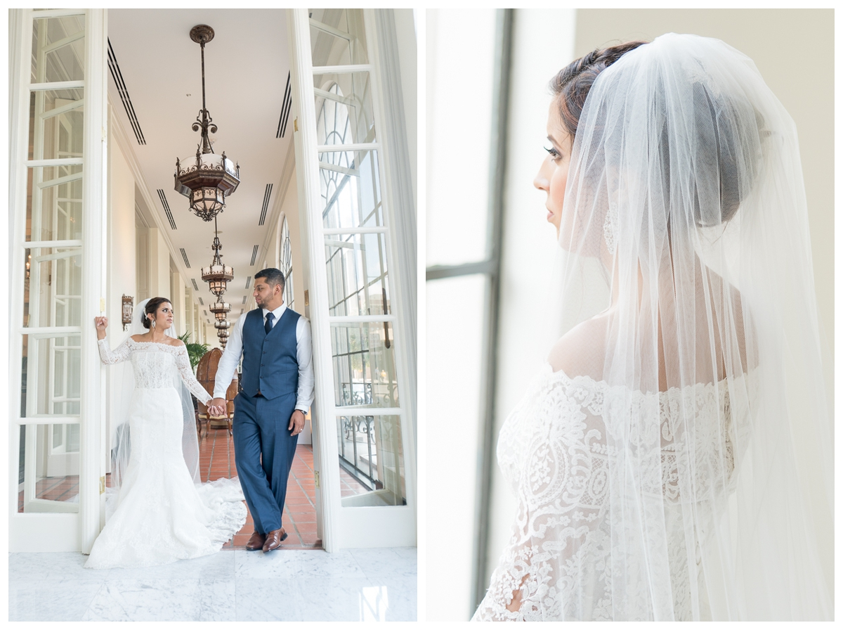 Off-the-Shoulder Lace Wedding Dress at St. Anthony Hotel Wedding Reception | San Antonio Wedding Photographer