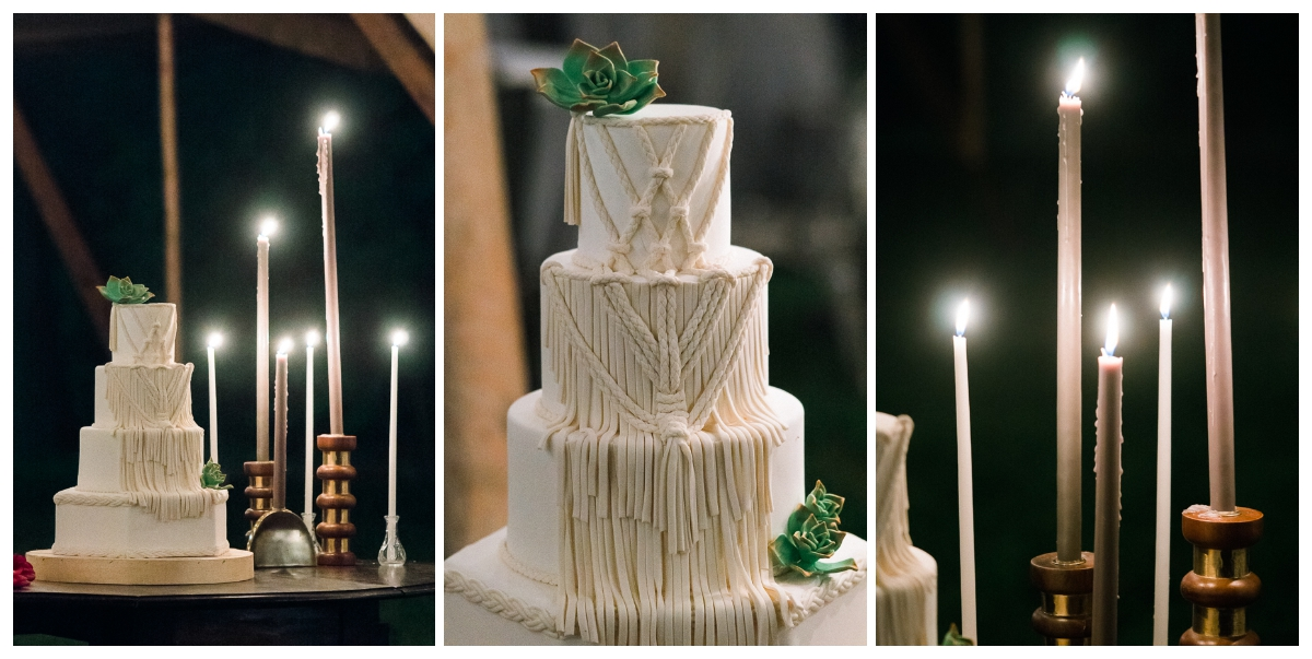 Macrame cake by 2tarts Bakery. Candles by Creative Candles.