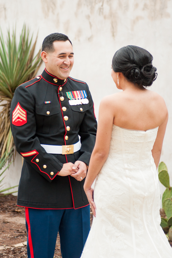 First Look for a Marine and his Bride