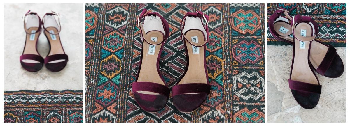 Burgandy Bridal Shoes   San Antonio Wedding Photography
