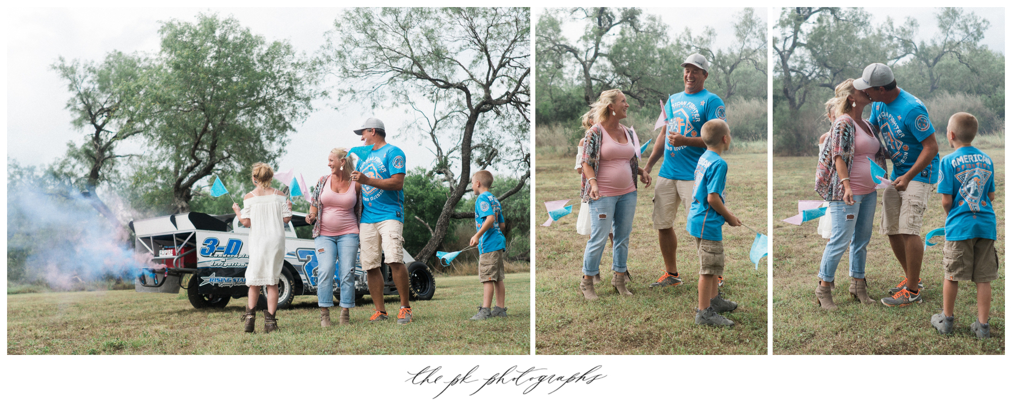 The pink and blue smoke announced to the world that they were expecting a baby boy and a baby girl!