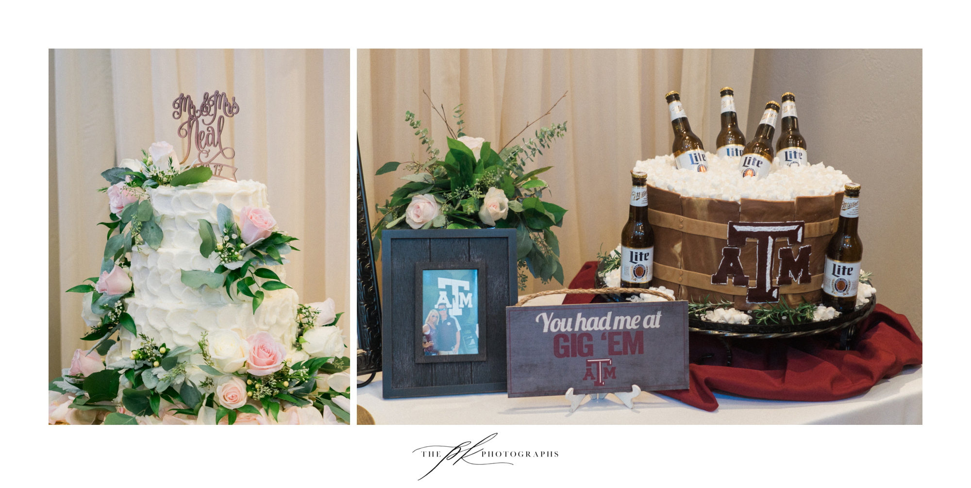 "Such a beautiful wedding cake, and of course a perfect Texas A&M ""beer cooler"" groom's cake!  The Lodge At Country Inn Cottages 