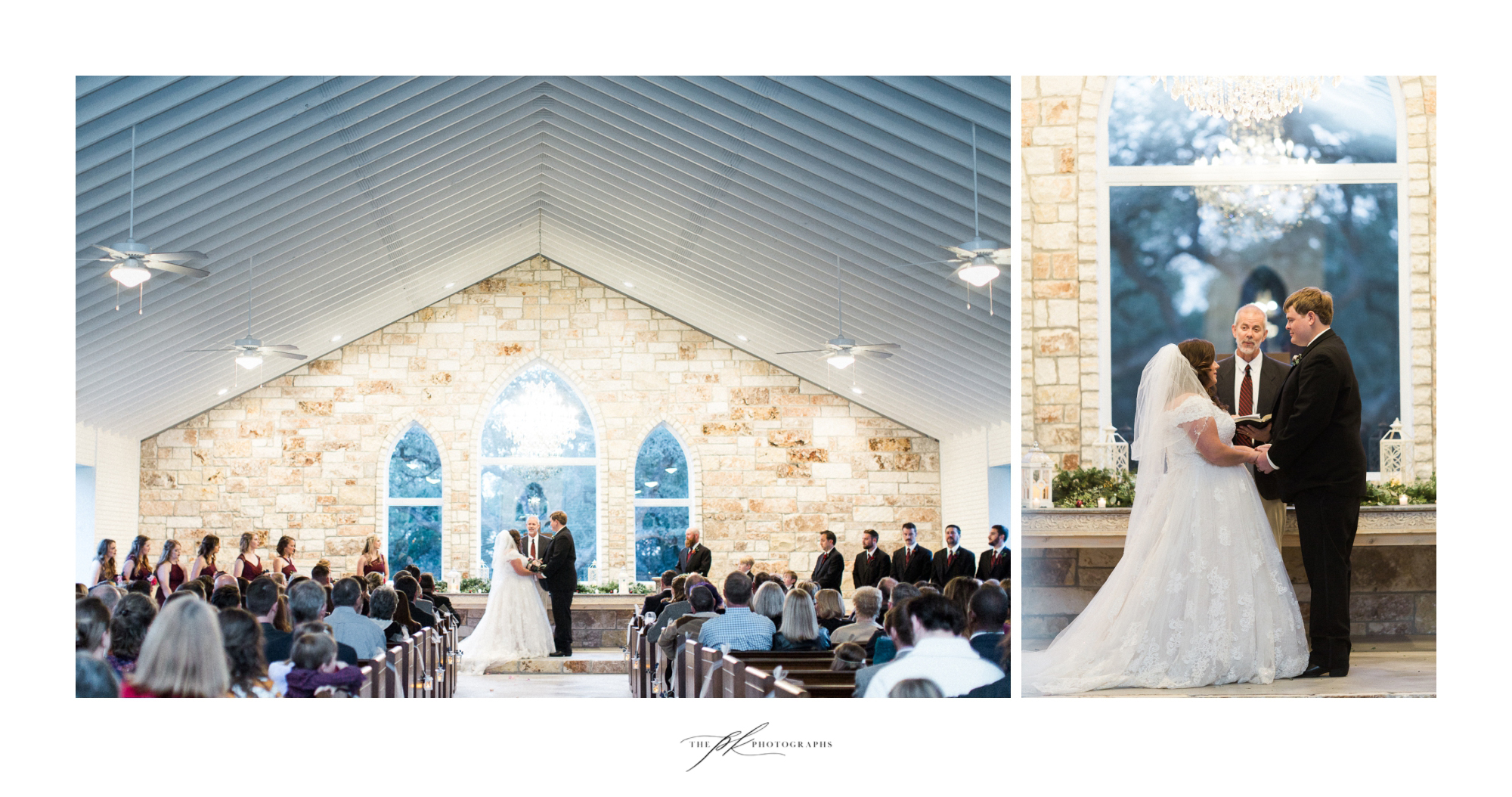 Emily and Lamar's wedding ceremony in the open air chapel at the Chandelier of Gruene