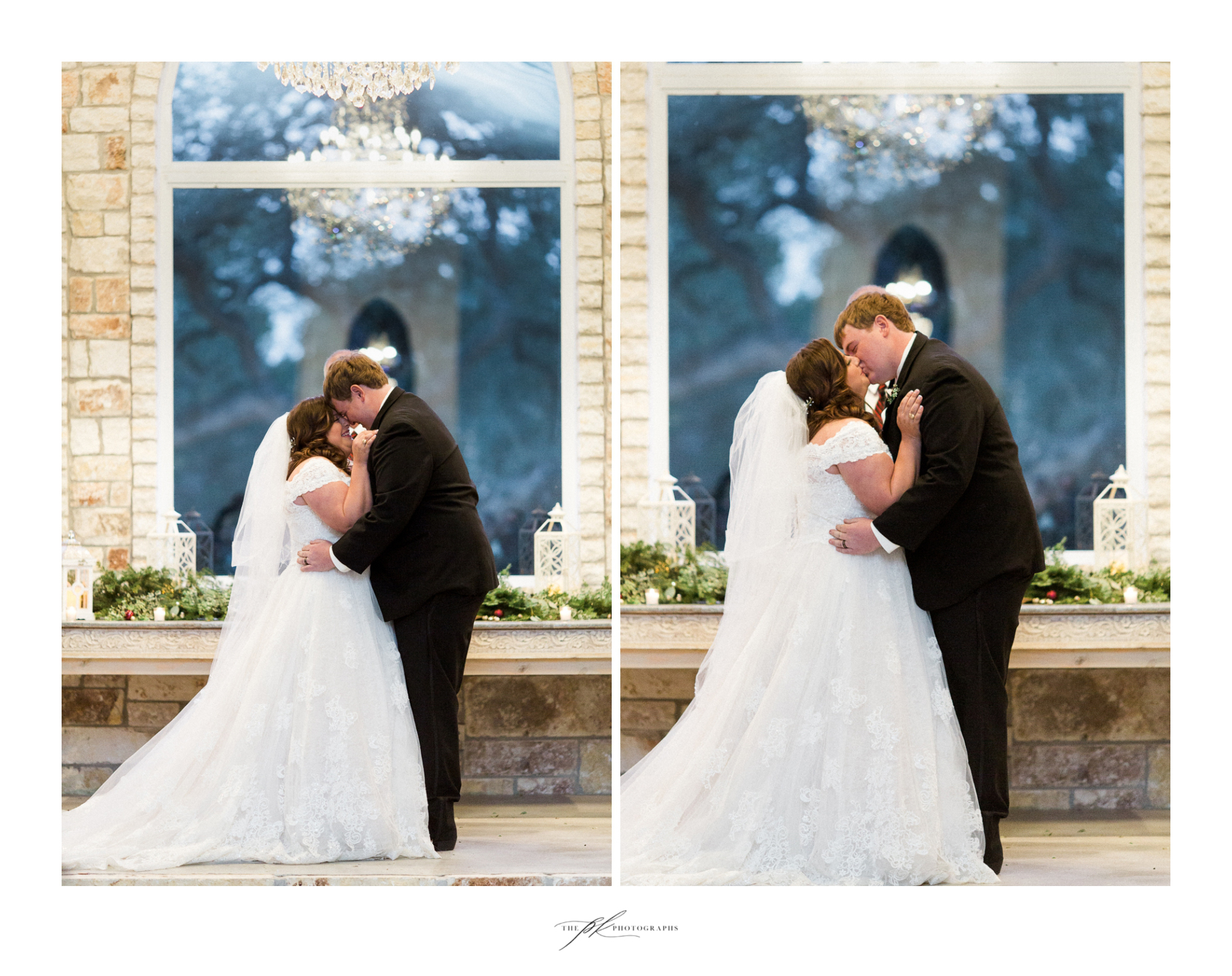 Emily and Lamar's first kiss as husband and wife during their wedding ceremony in the open air chapel at the Chandelier of Gruene
