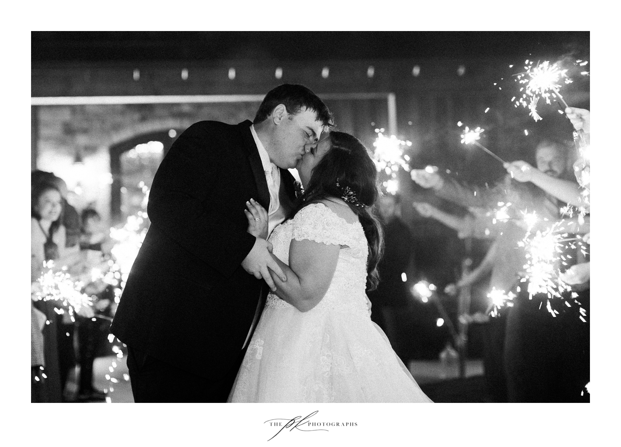 Emily and Lamar's sparkler exit at the end of their wedding reception at the Chandelier of Gruene.