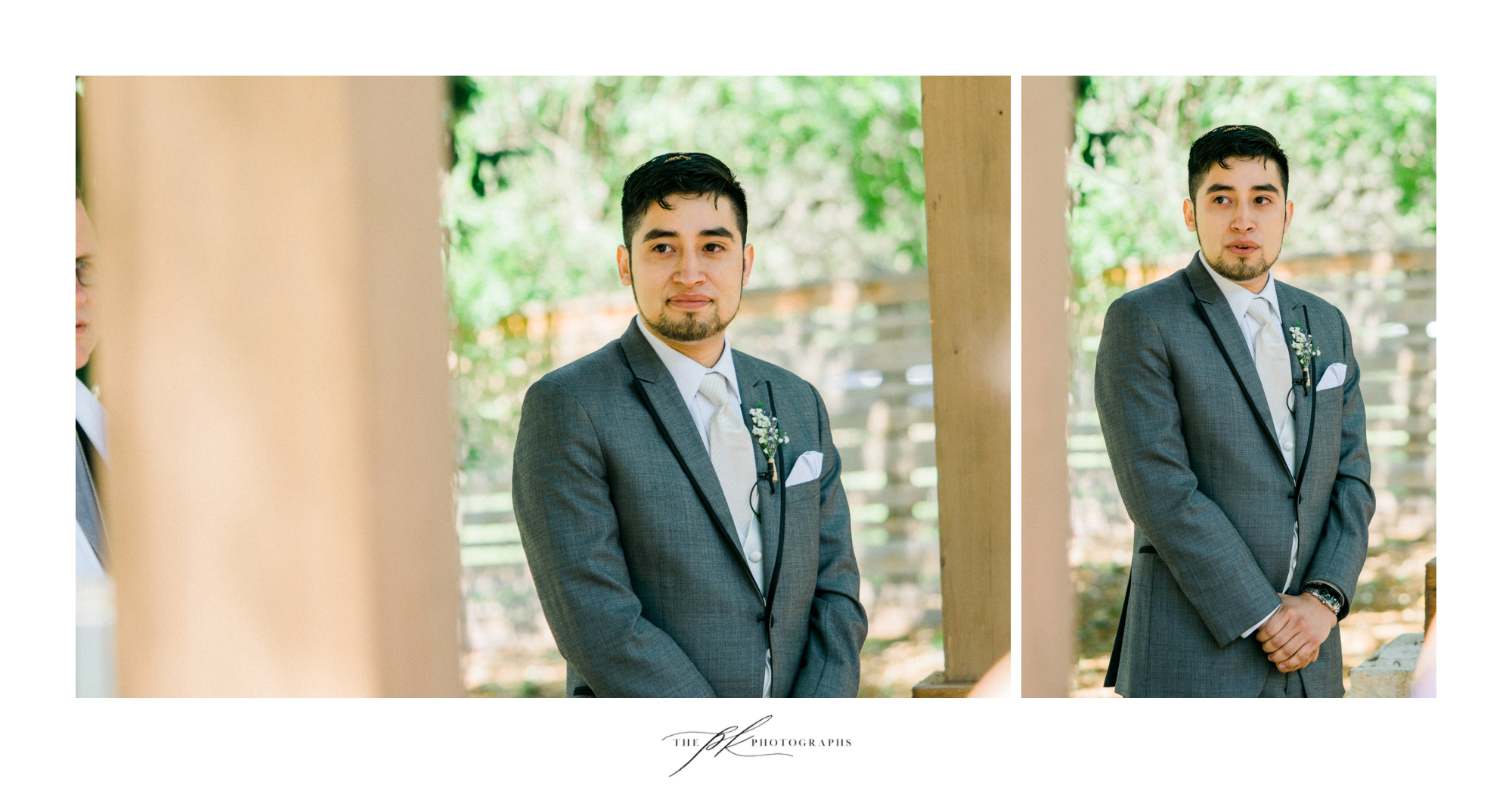 The groom waiting for his bride at their wedding ceremony at Magnolia Halle in San Antonio, Texas - Photographed by The PK Photographs