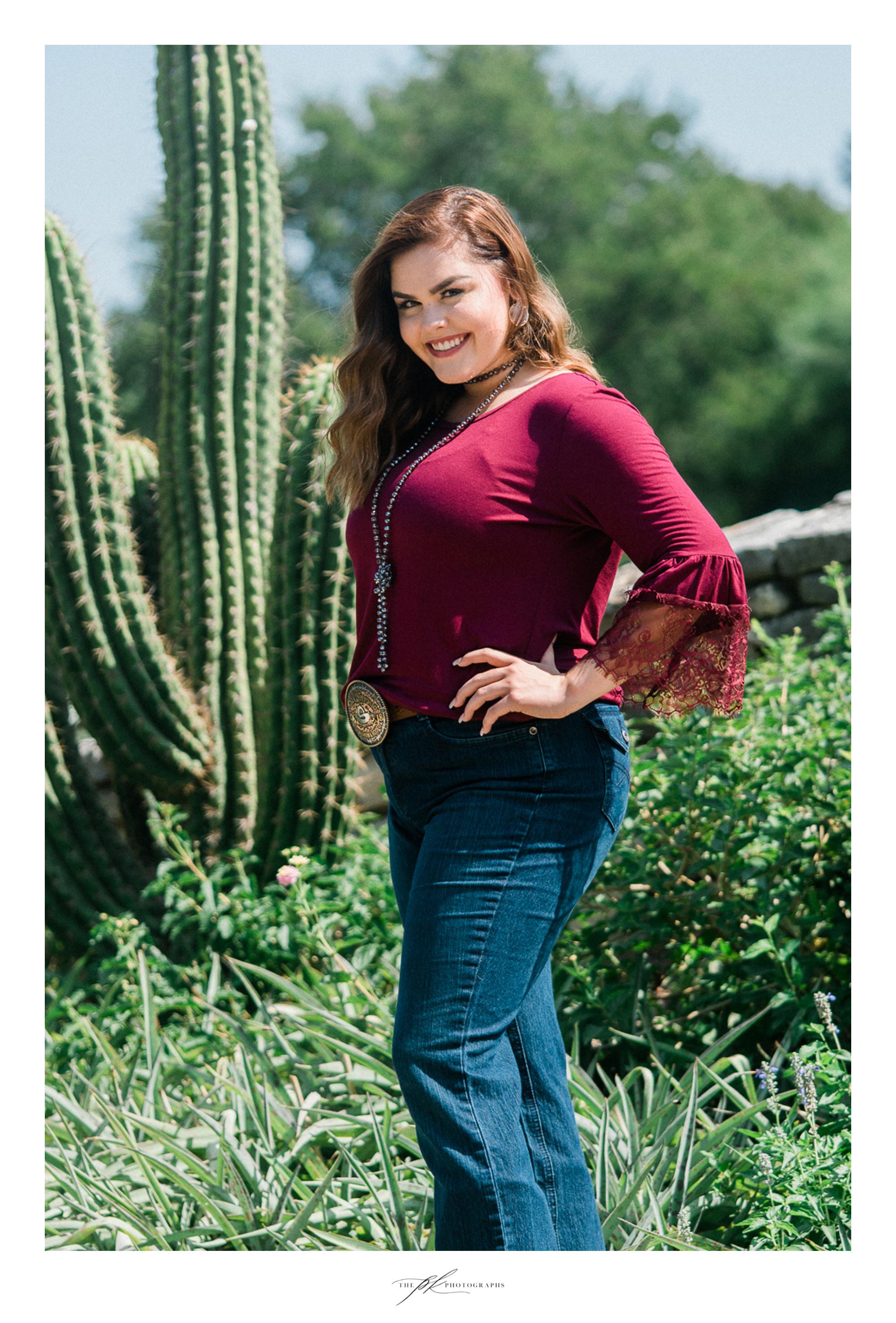 Senior portraits of Malorie at the San Antonio Botanical Gardens