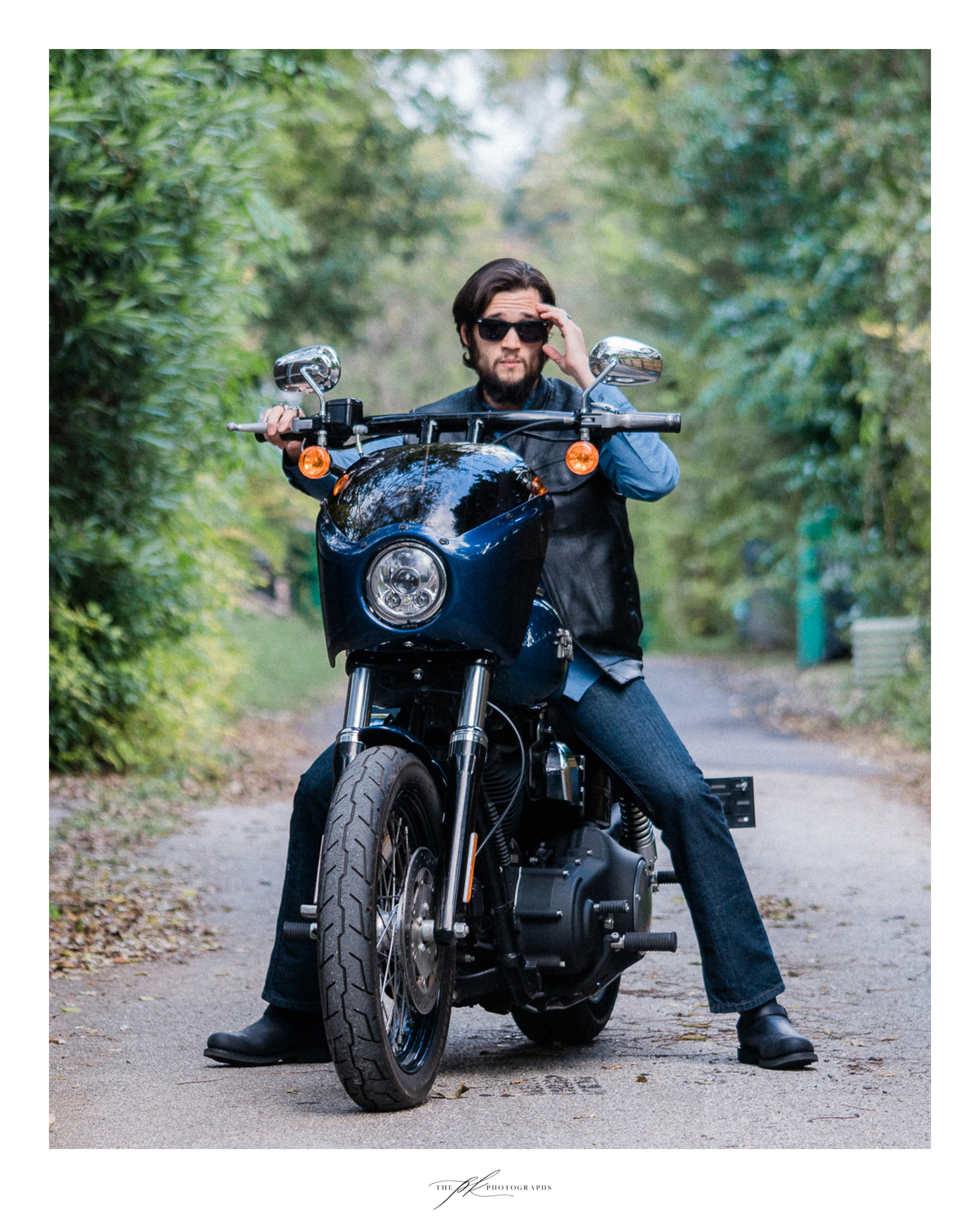 Moe during his custom Harley-Davidson portrait session in San Antonio