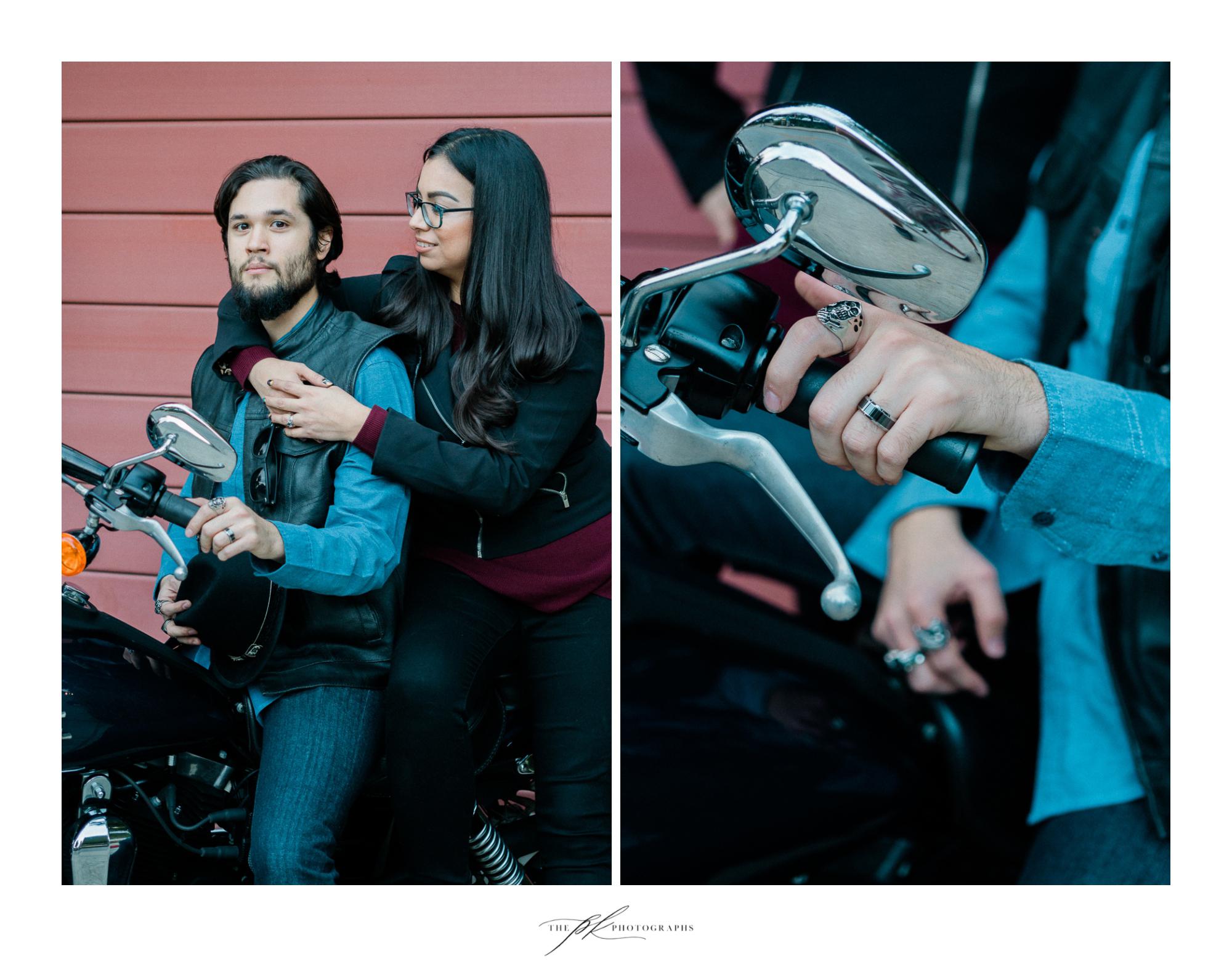 Erika and Moe's custom Harley-Davidson portrait session in San Antonio