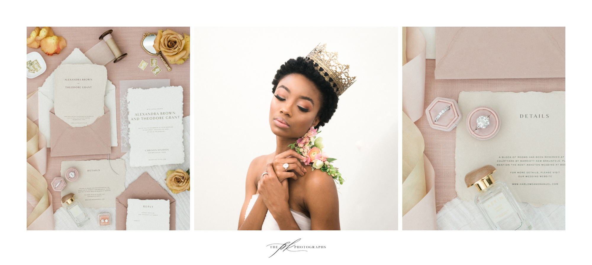 Photographer: Parker Radbourne of  The PK Photographs  Paper Suite:  Isidore and Augustine   Model:  Kennedy Givens  H/MU: Marisa Camargo with  Glam on Demand  Flowers:  The Vintage Bouquet Bar  Dress: Agata gown by  Chosen by One Day , thanks to  Unbridaled  Jewelry:  Nicole Mera  Ring Box:  Your Hearts Content