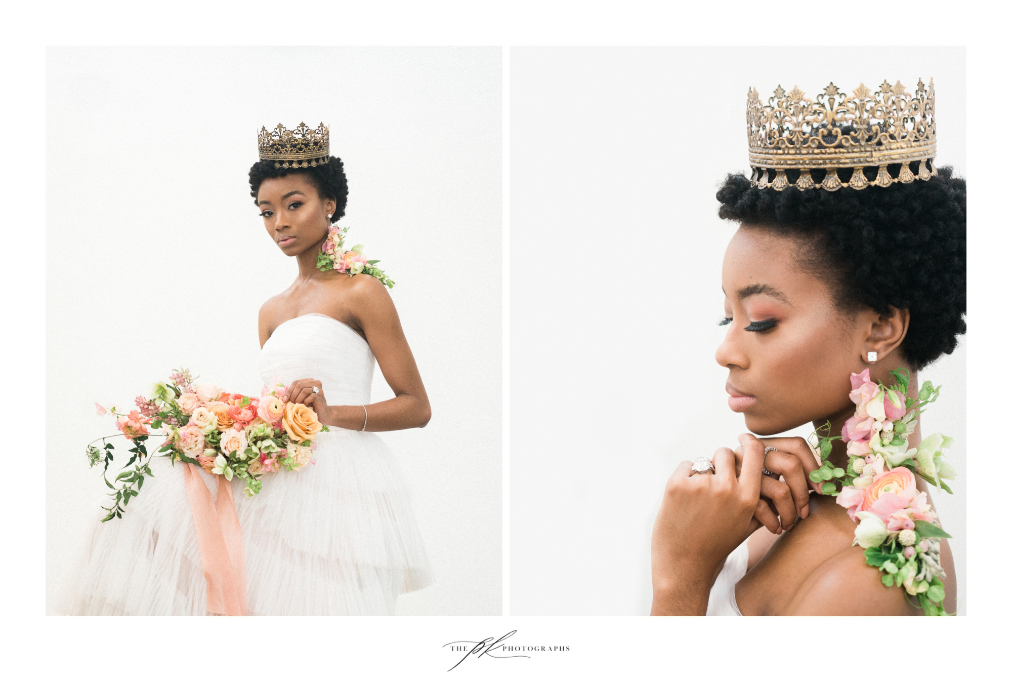 Photographer: Parker Radbourne of  The PK Photographs  Model:  Kennedy Givens  H/MU: Marisa Camargo with  Glam on Demand  Dress: Agata gown by  Chosen by One Day , thanks to  Unbridaled  Flowers:  The Vintage Bouquet Bar  Jewelry:  Nicole Mera
