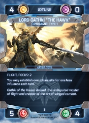 Example of a Triggered Modifier. FOCUS: 2 only triggers when Lord Oathki becomes an ATTACKER or DEFENDER.