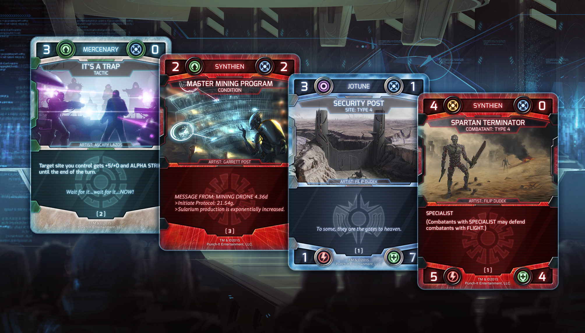 The four card types: Tactics, conditions, sites, and combatants